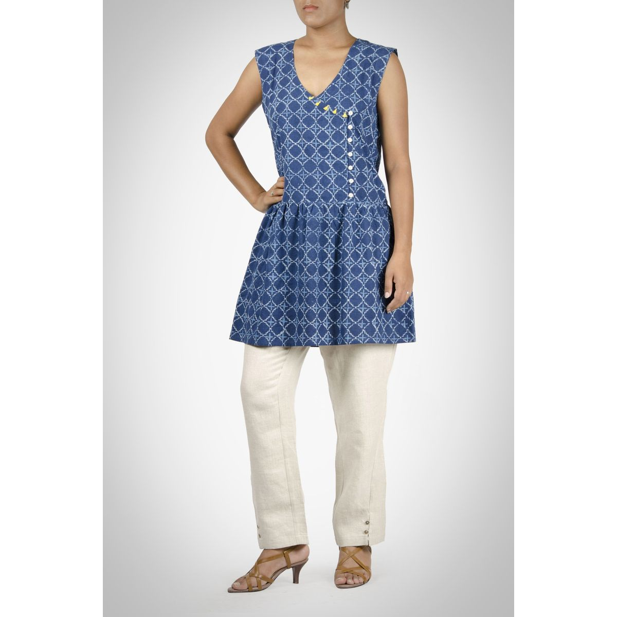 Indigo Cotton Sleeveless Tunic