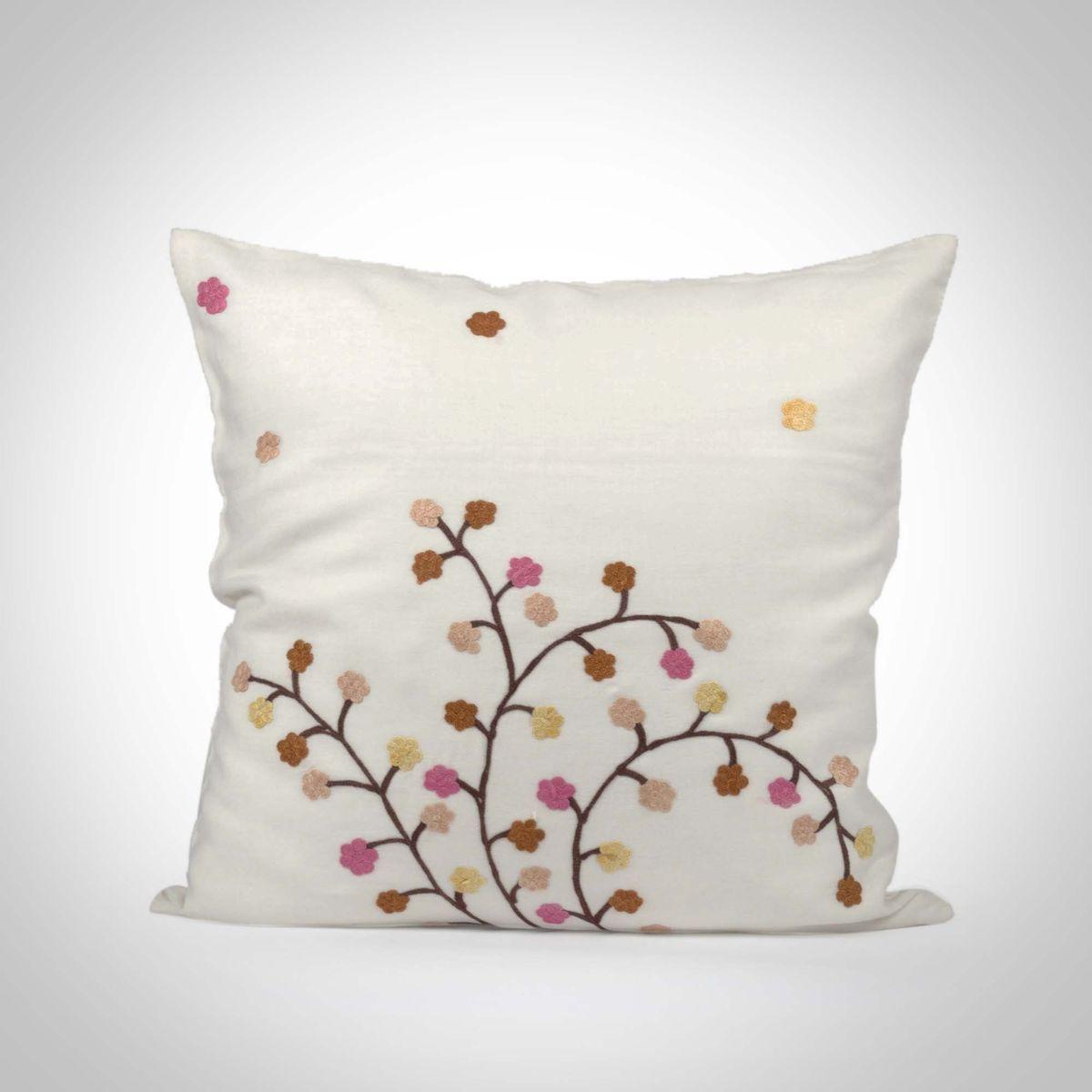 White Cotton Silk Cushion Cover - 16x16Inch