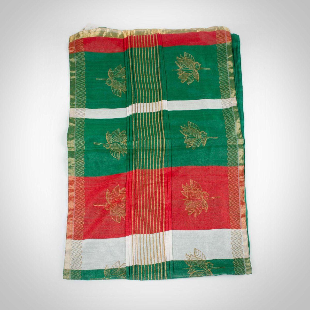 Red & Green Khadi Block Printed Table Runner