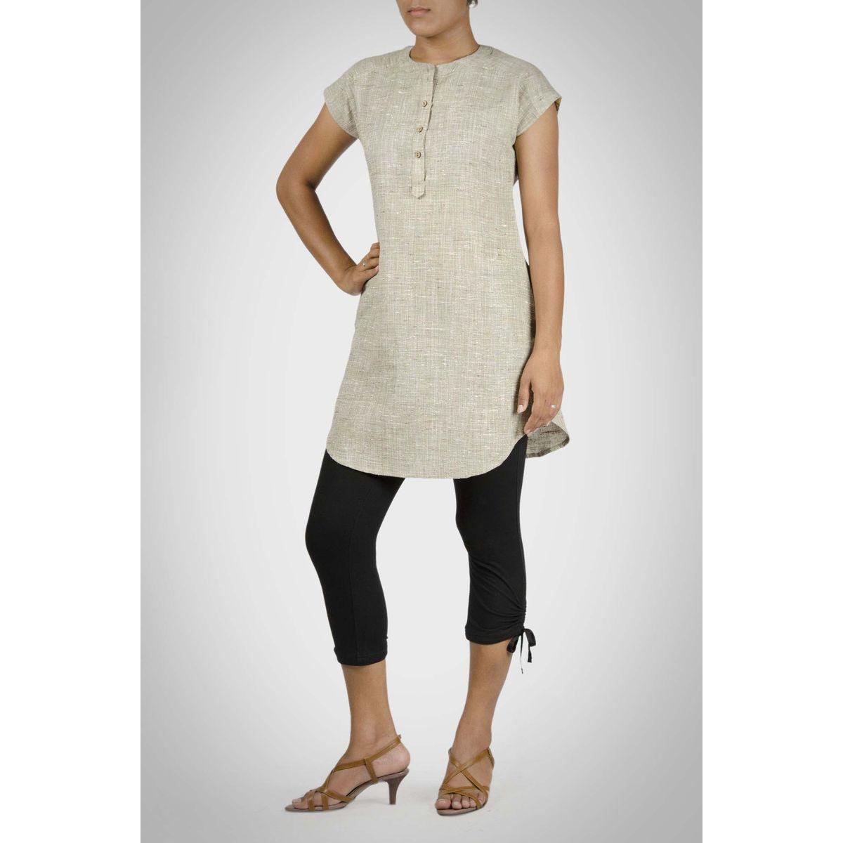 Green Khadi Cotton Long Shirt