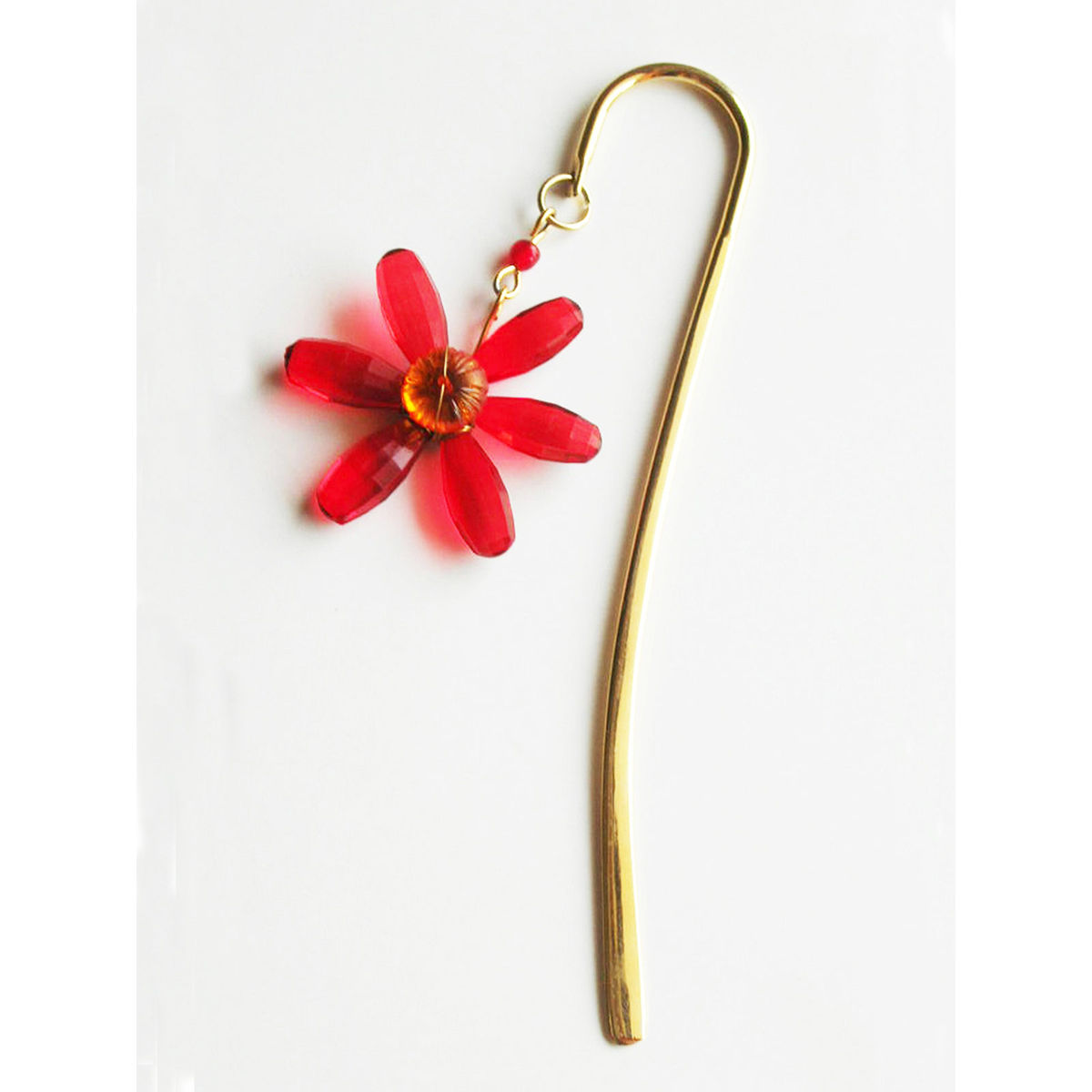 Elegant Brass Bookmark- Daisy Flower- Red