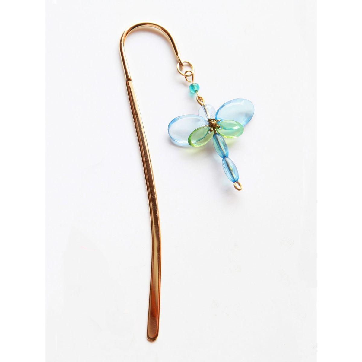Elegant Brass Bookmark- Dragonfly Tiny- Blue