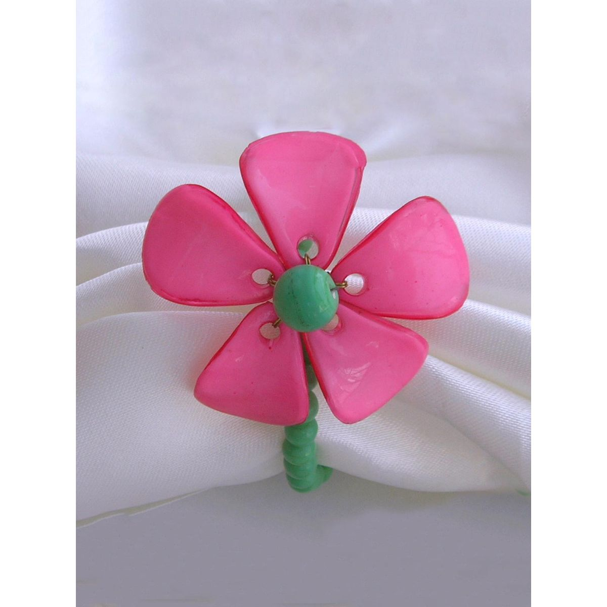 Dainty Flower Napkin Ring  Fushia