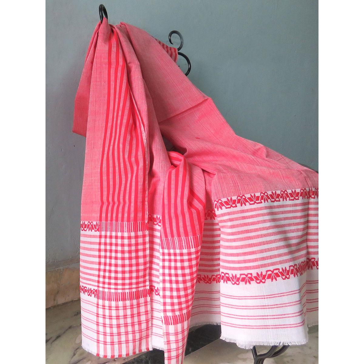 Red cotton dupatta with white border