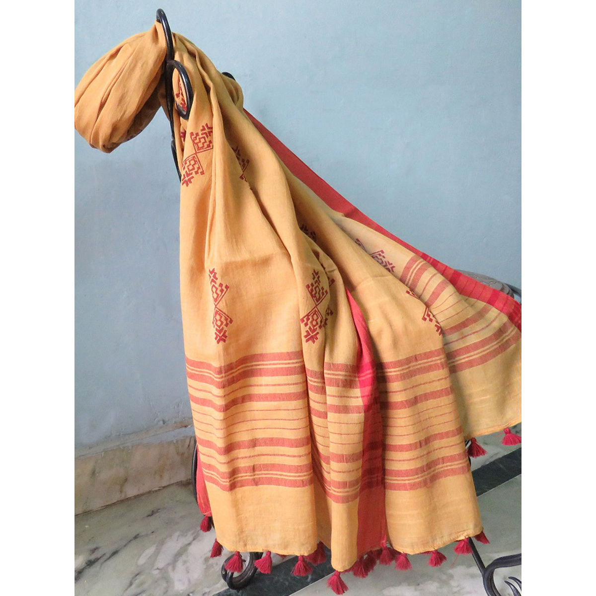 Yellow Block printed cotton Dupatta