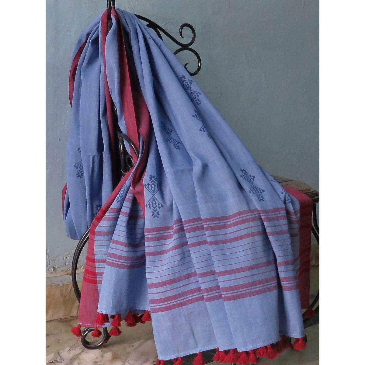 Blue Hand block printed cotton dupatta