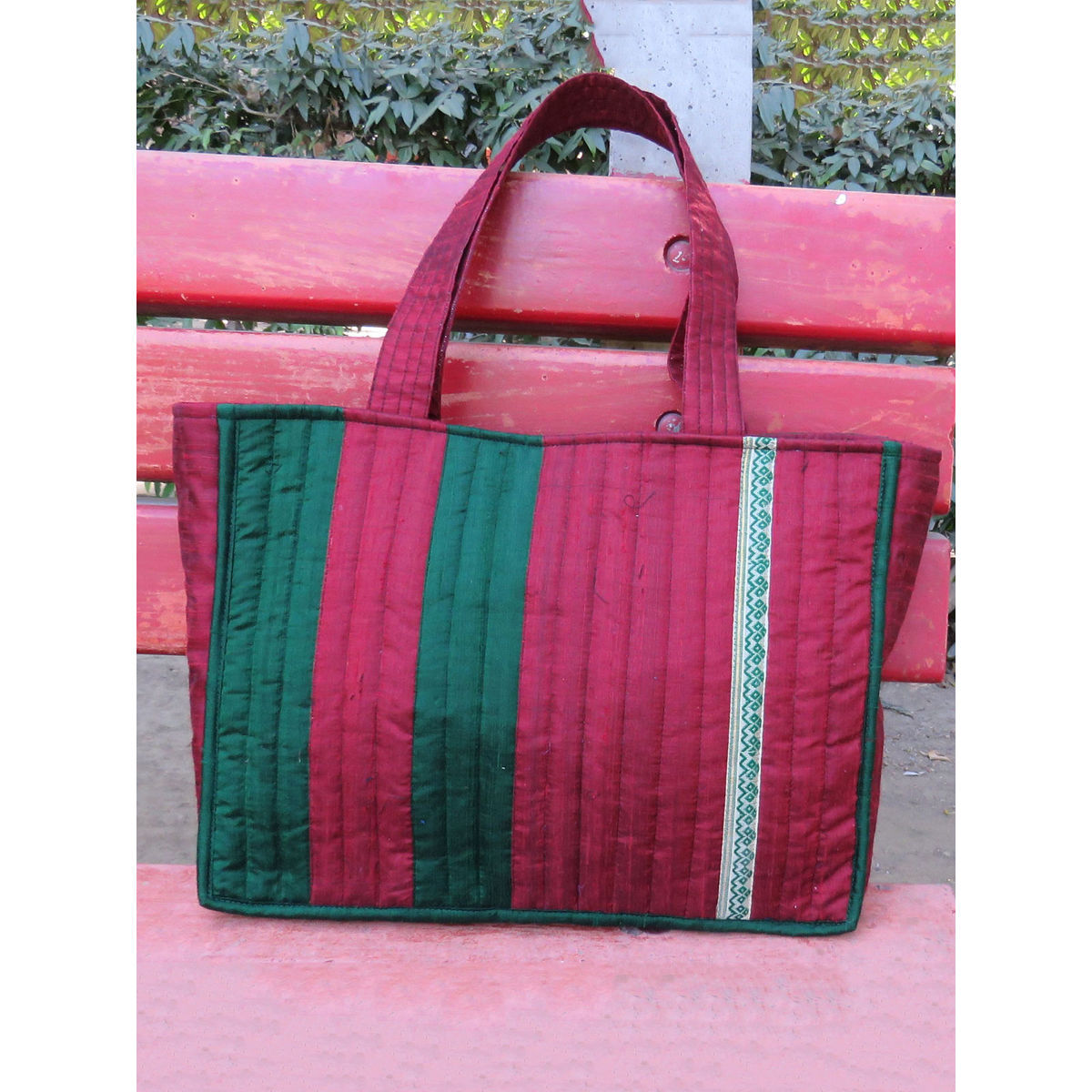 Maroon dupion silk quilted bag