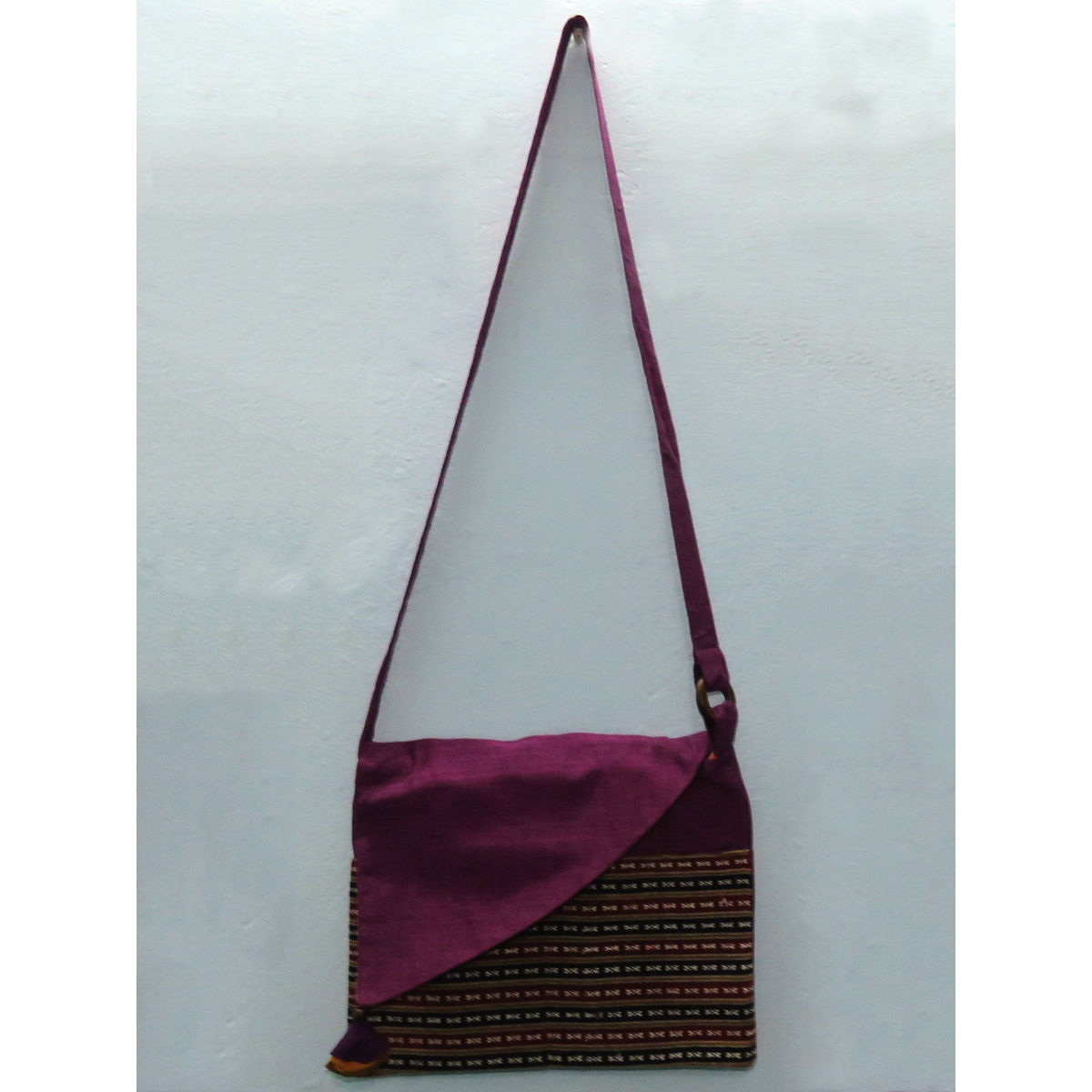 Purple cotton sling bag with patch pocket