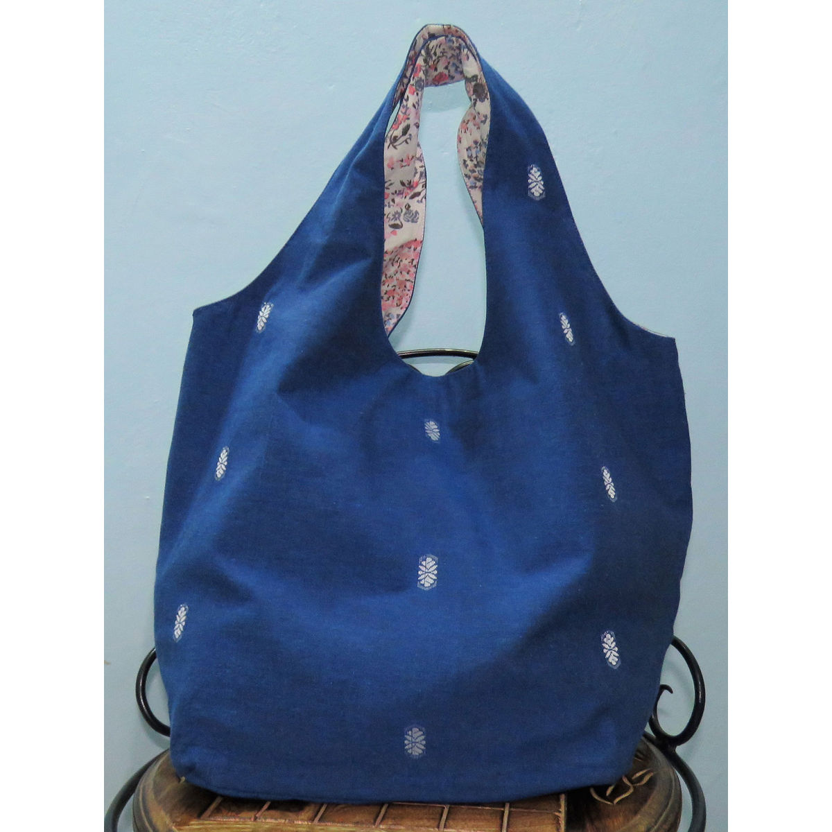 Indigo handwoven Hobo cotton bag