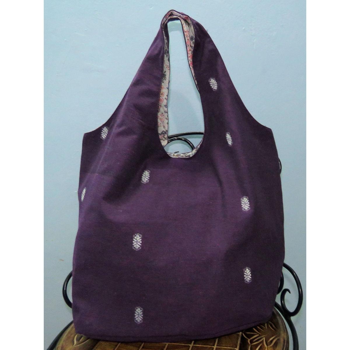 Purple handwoven Hobo cotton bag
