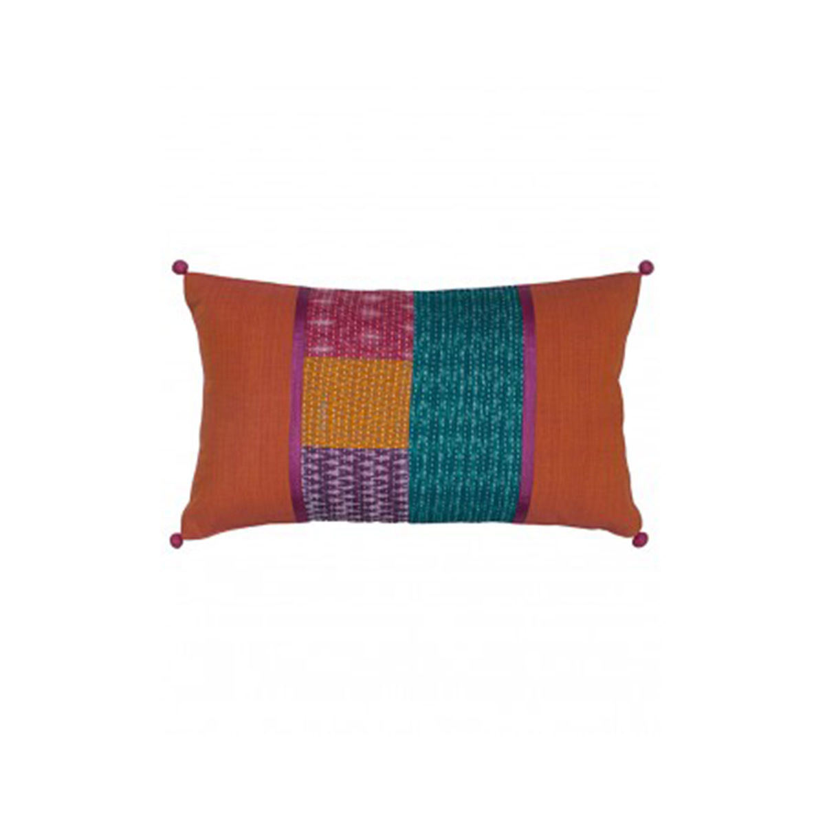 Orange Mid Patch Kantha  Block printed Cushion Cover