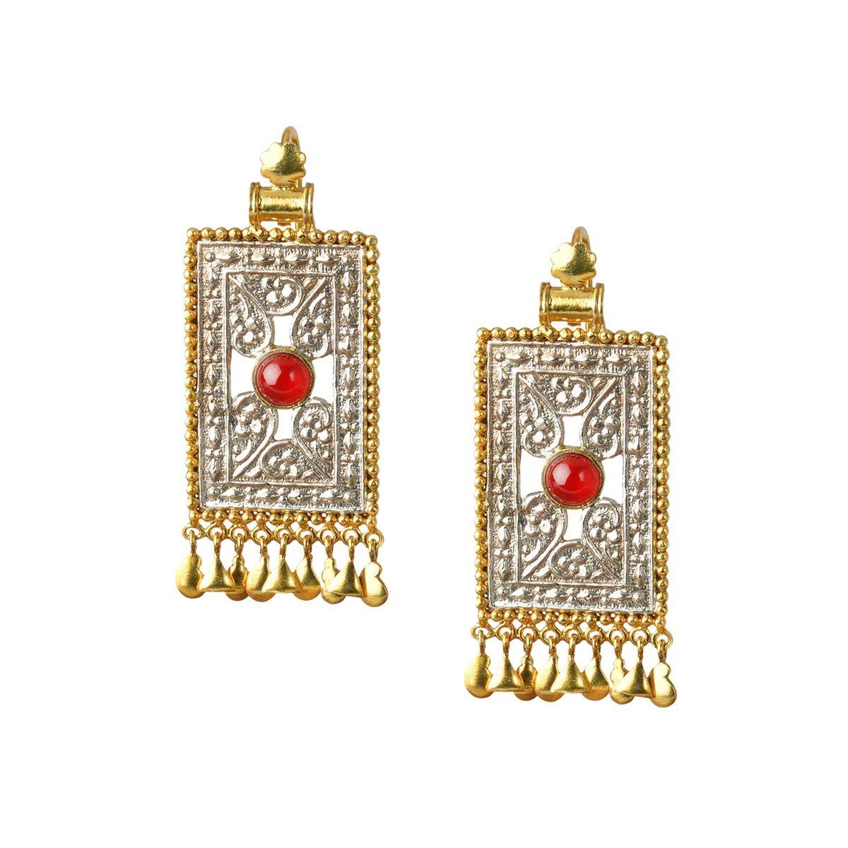 Engraved rectangular  silver earrings