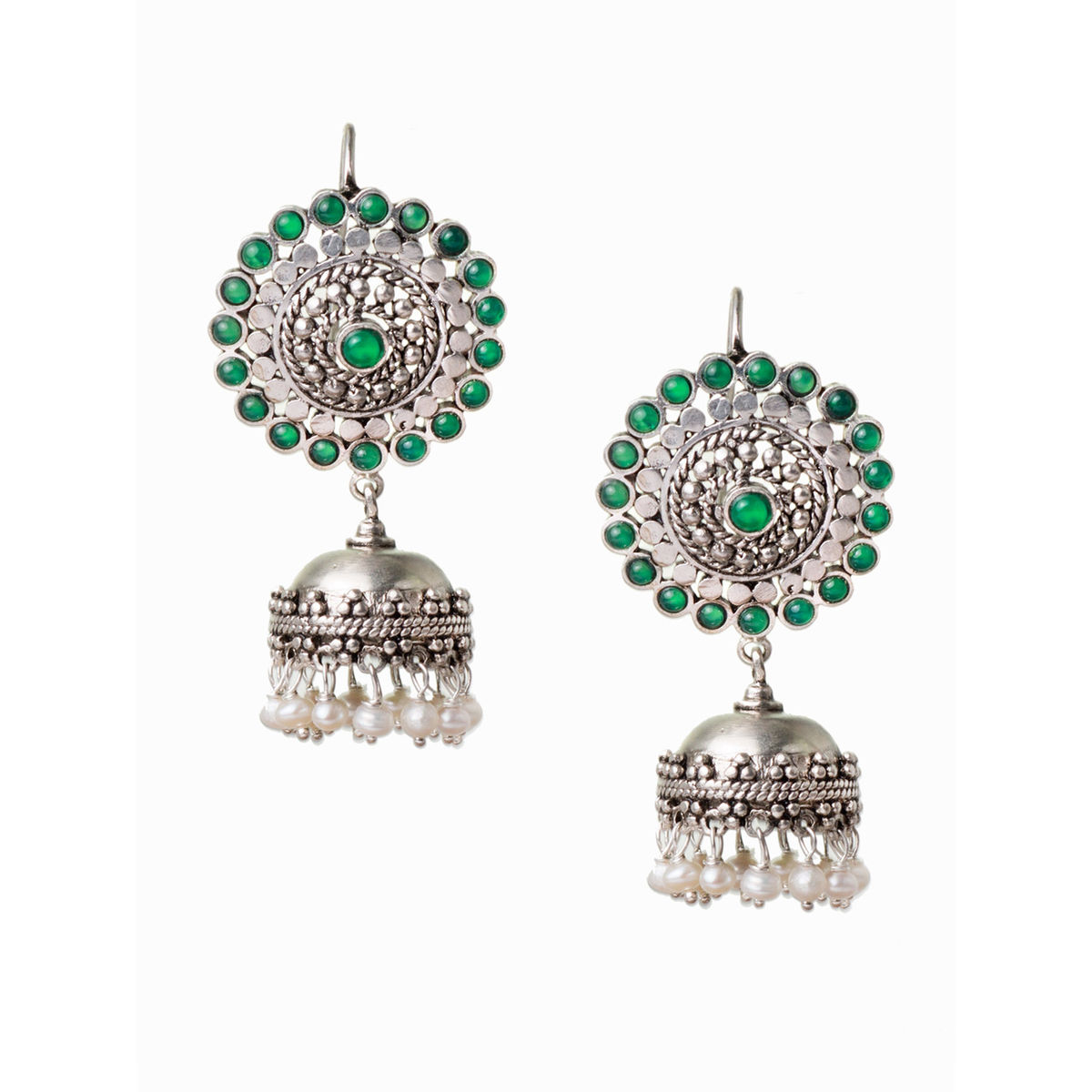South Indian Style Silver Jhumki