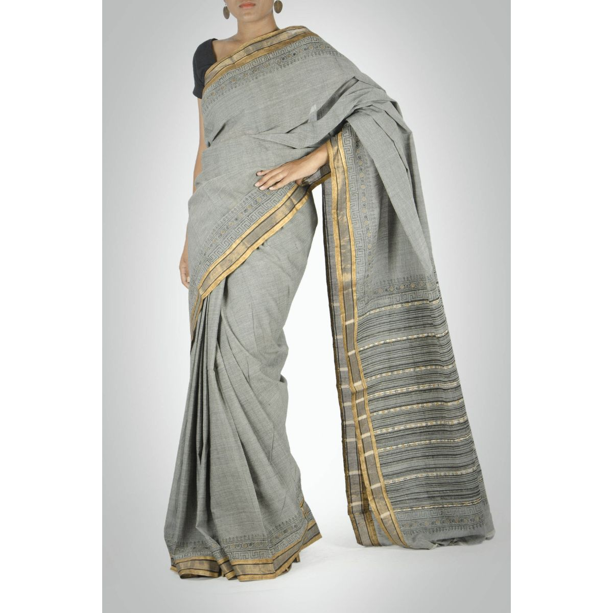 Grey Mangalagiri Saree