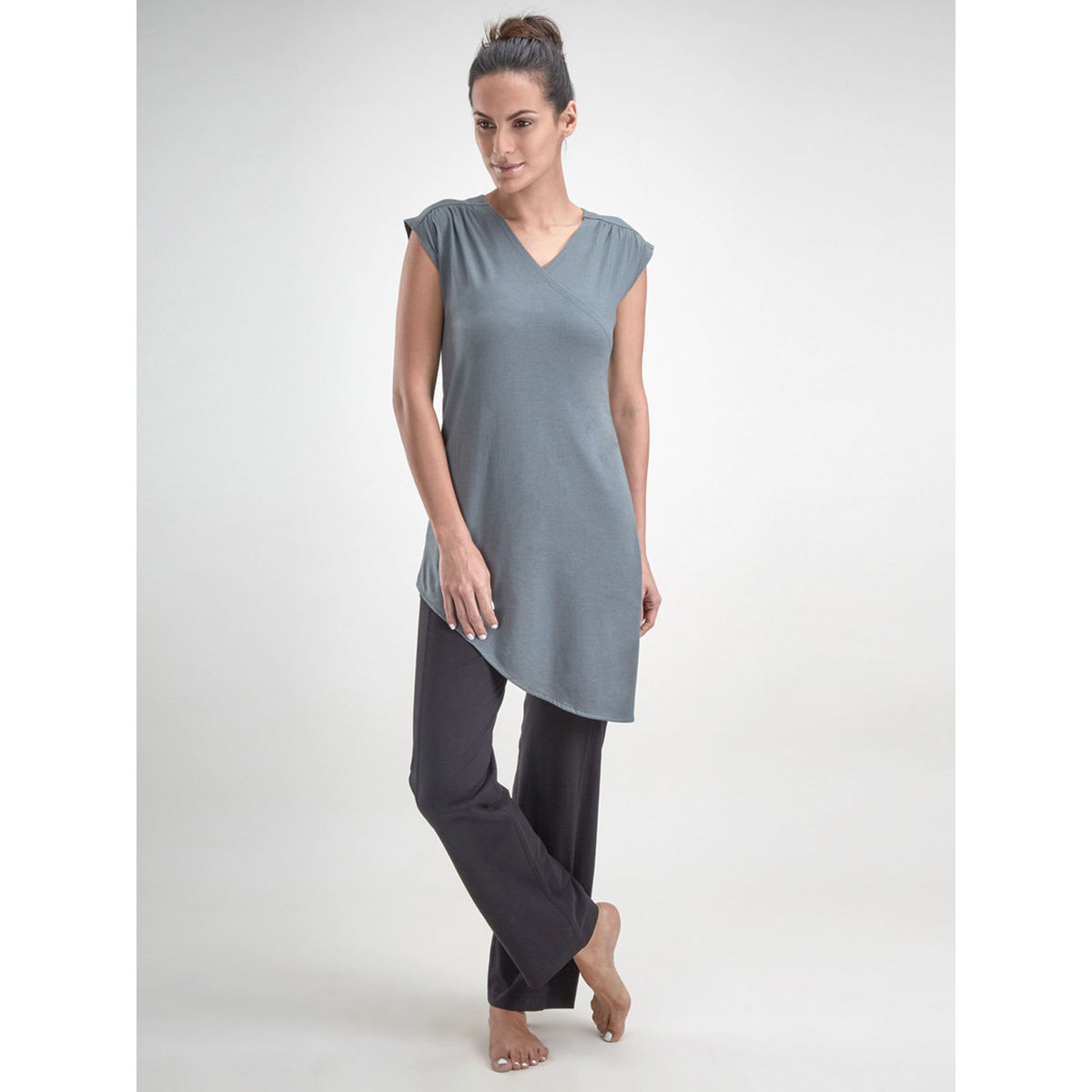 Grey Wrap Front Top