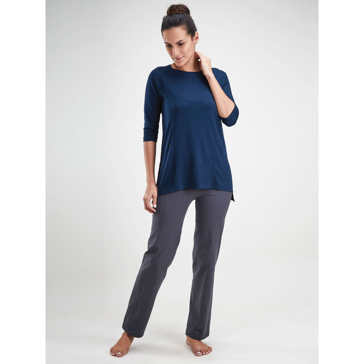 Navy Blue Red Tunic Top