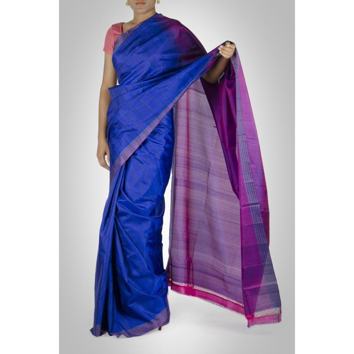 Royal Blue and Purple Silk Saree