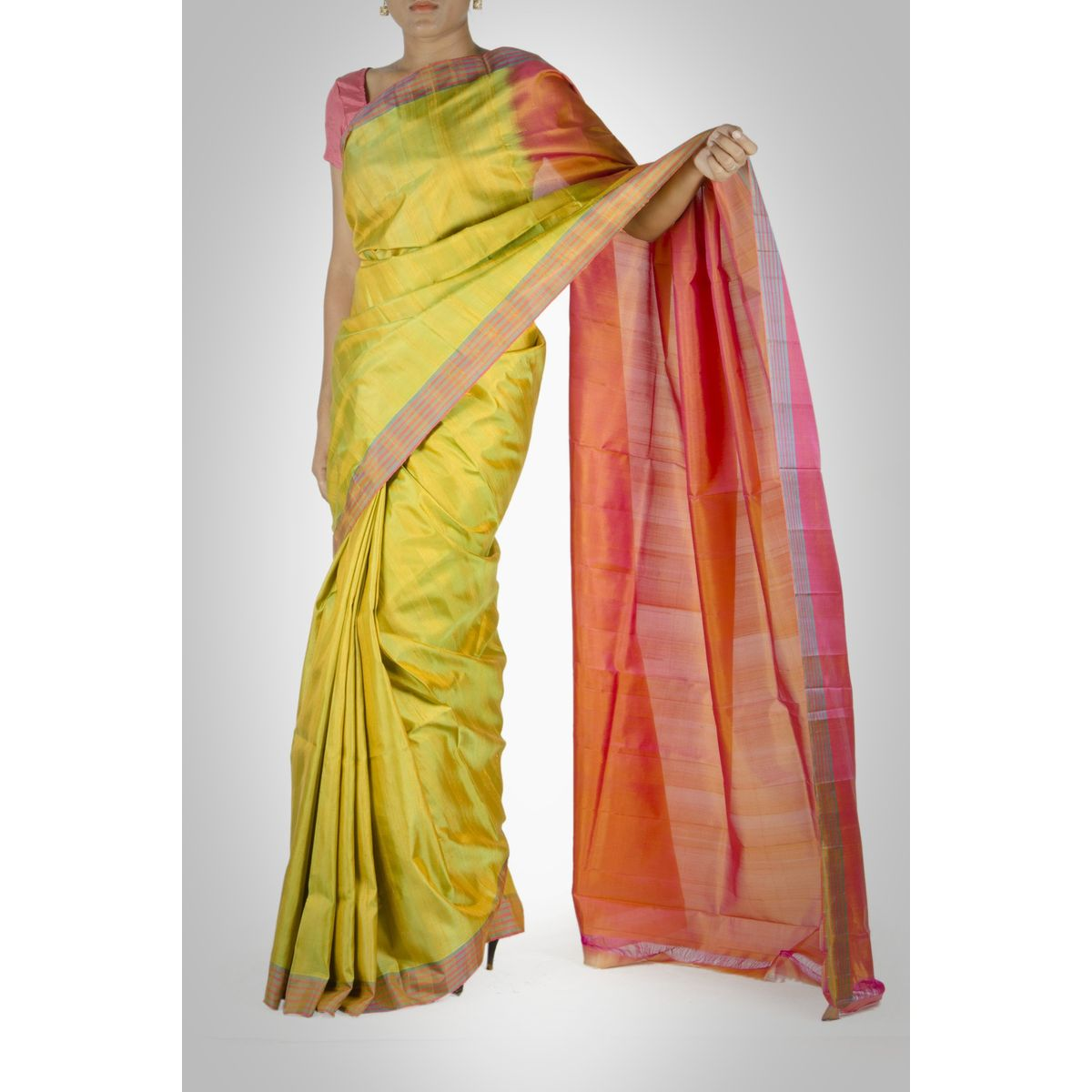 Green and Orange Silk Saree