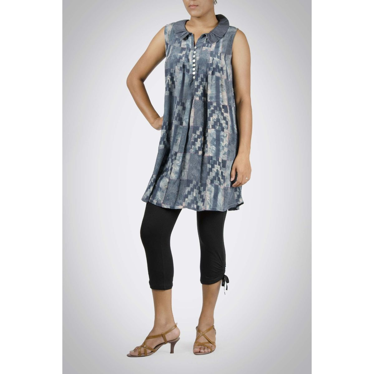 Indigo Printed Silk Tunic