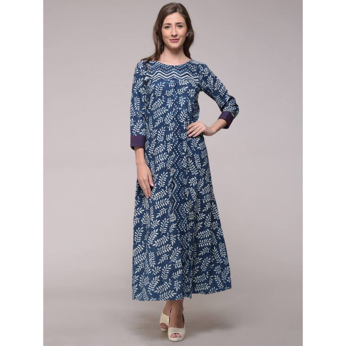 Buy dabu indigo pleat embroidered leaf printed dress