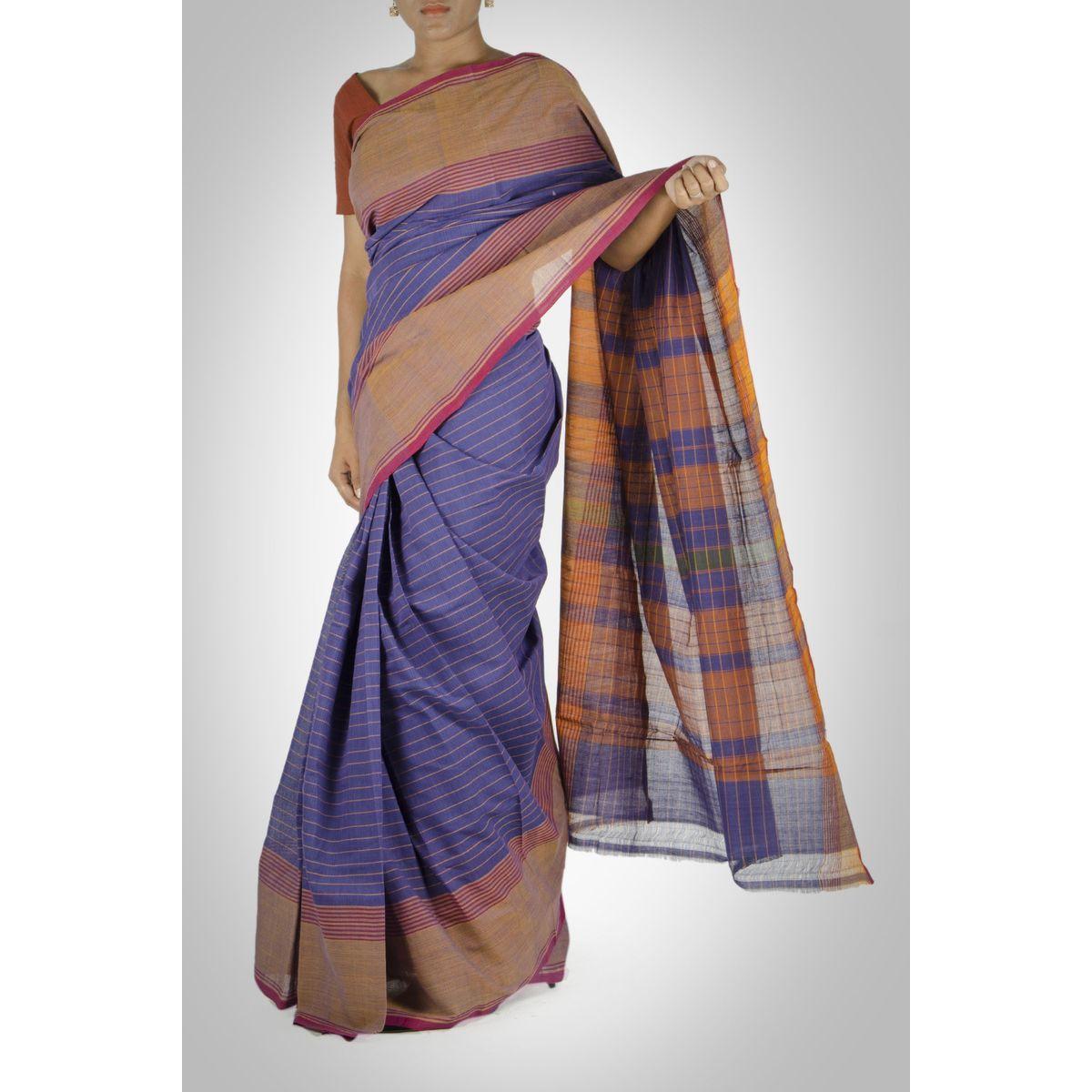 Purple Striped Cotton Saree