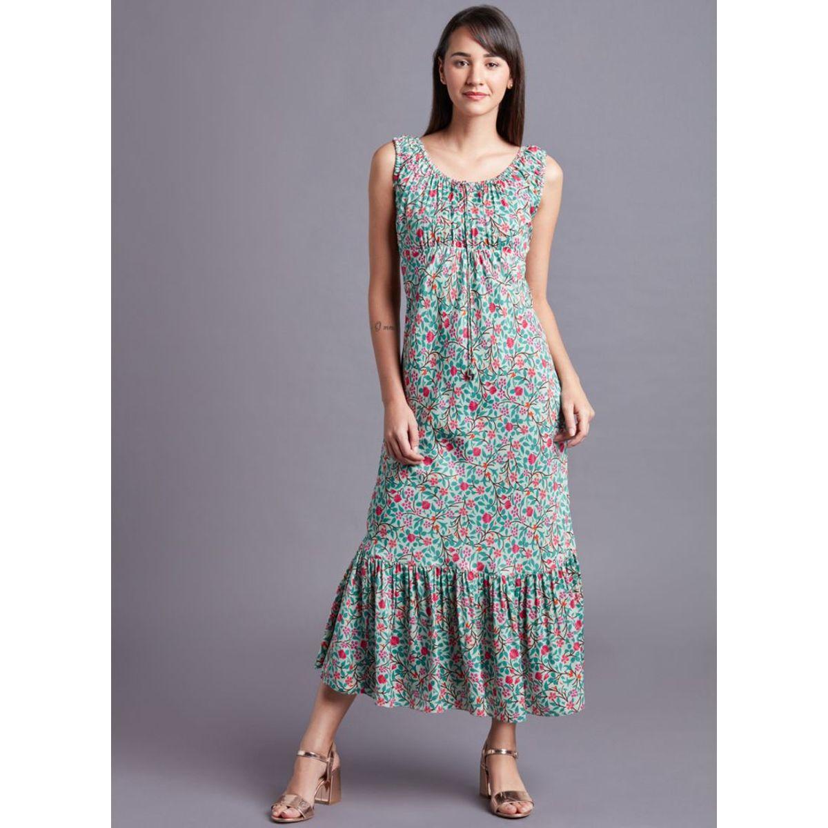 58e17b4b5b37fc Aqua Floral Sleeveless Dress