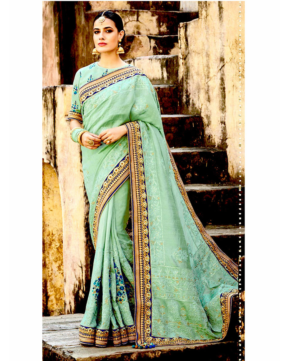 Blue Color Designer Embroidered Saree In Georgette Fabric