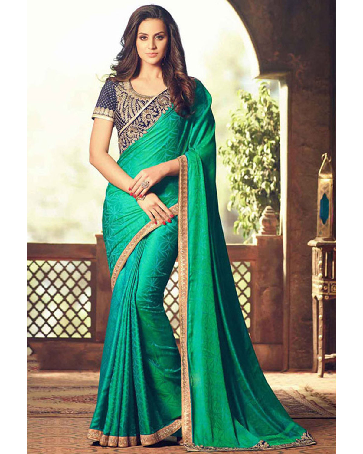 Party Wear Saree In Green Color With Designer Blouse | Deesps19003