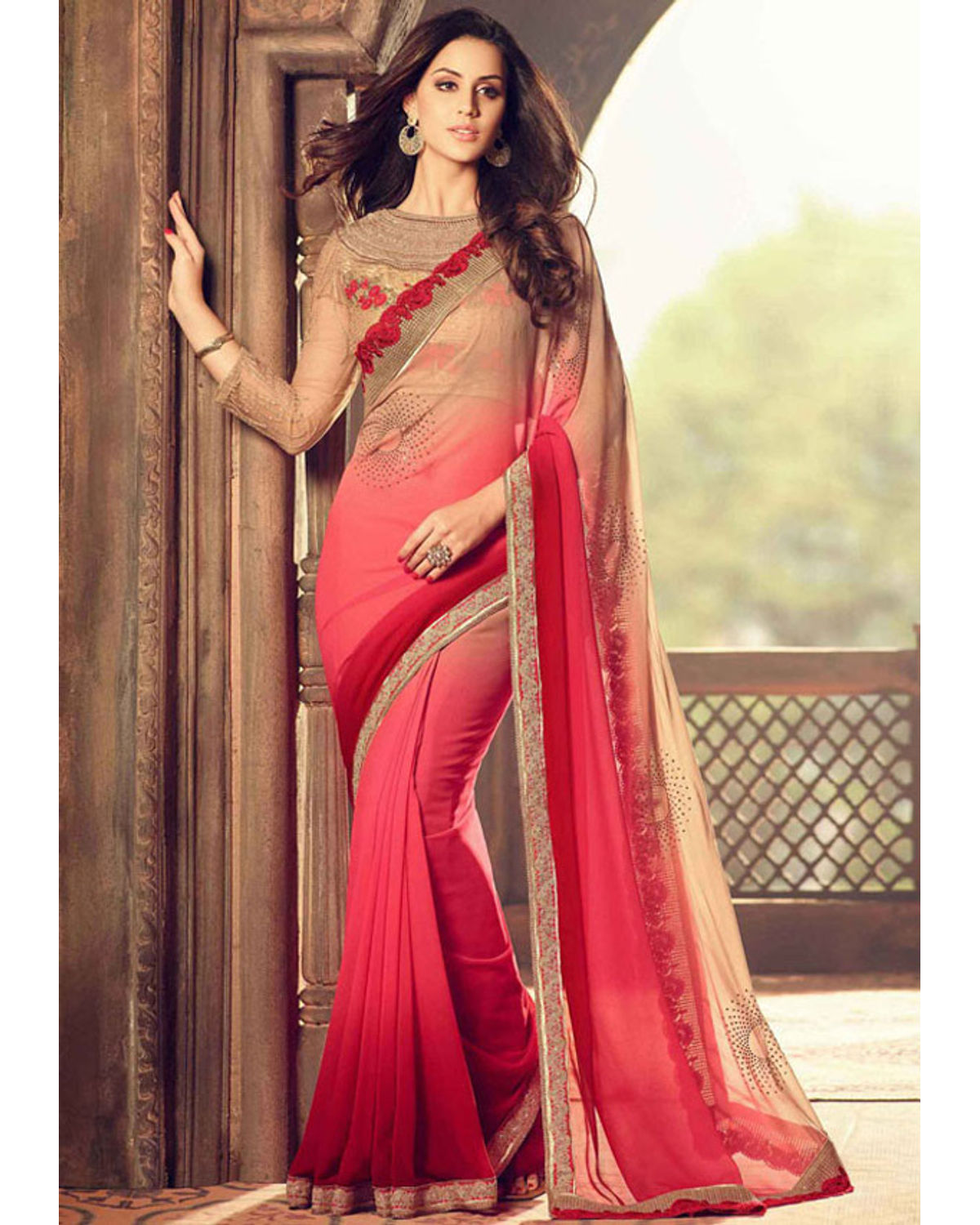 bb4e67f36a6 Red Color Party Wear Saree With Designer Blouse