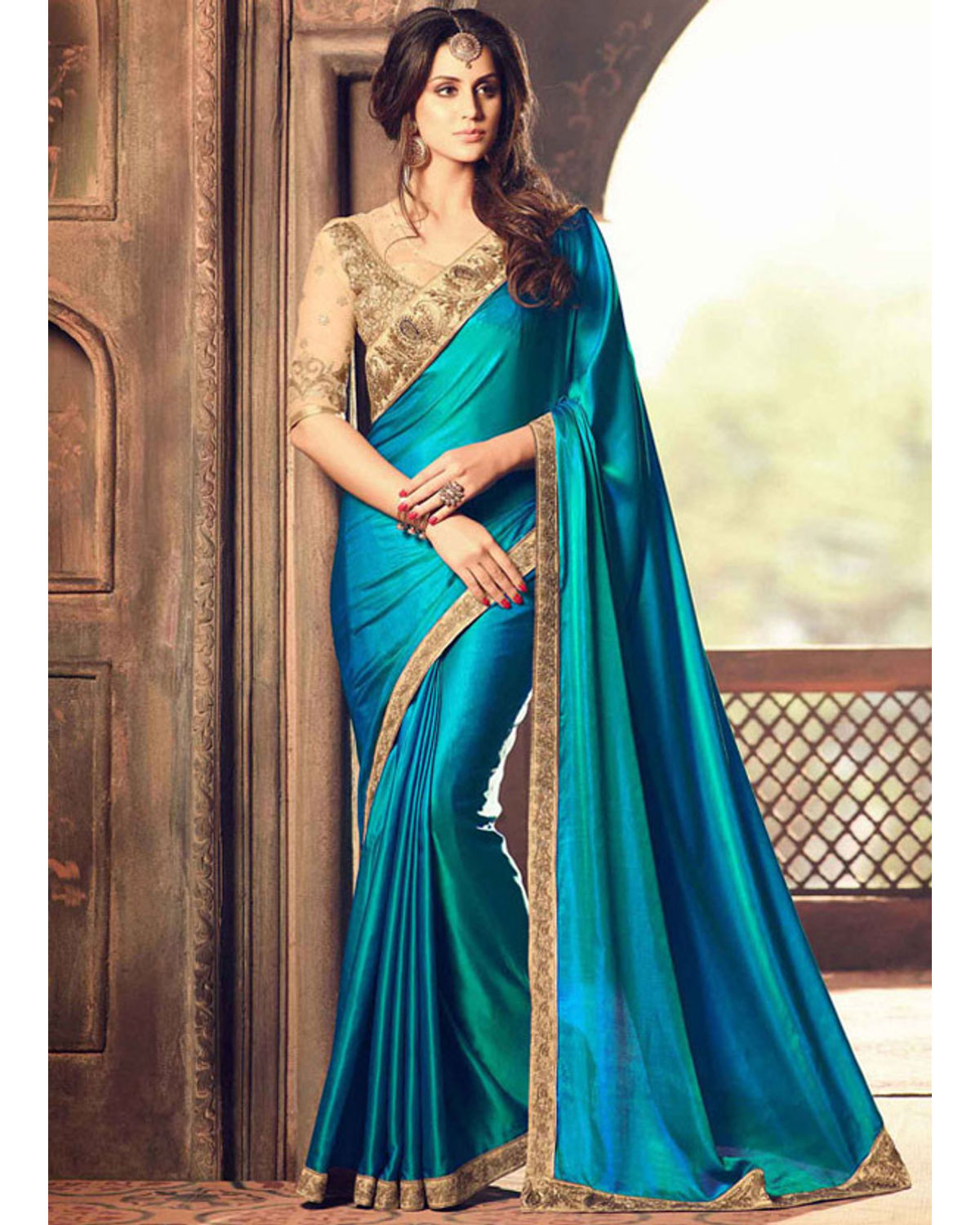 Party Wear Saree In Peacock Blue Color With Designer Blouse ...