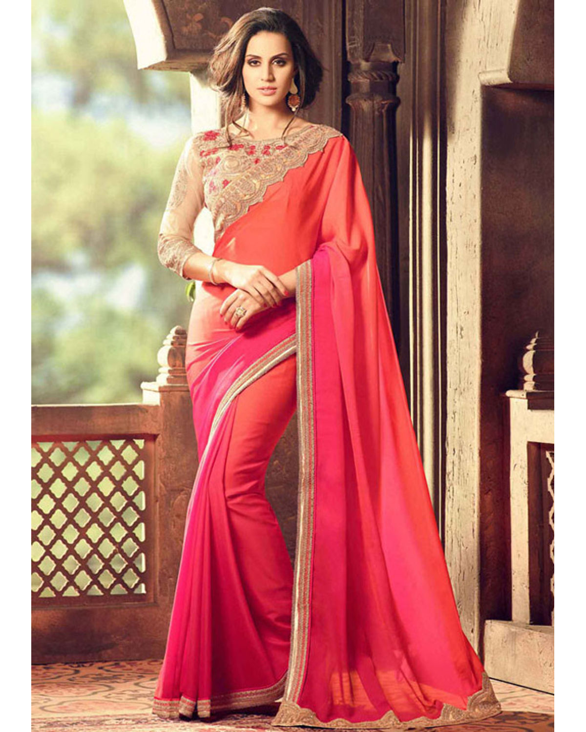 72ada45ee2f1d Party Wear Saree In Magenta Color With Designer Blouse ...