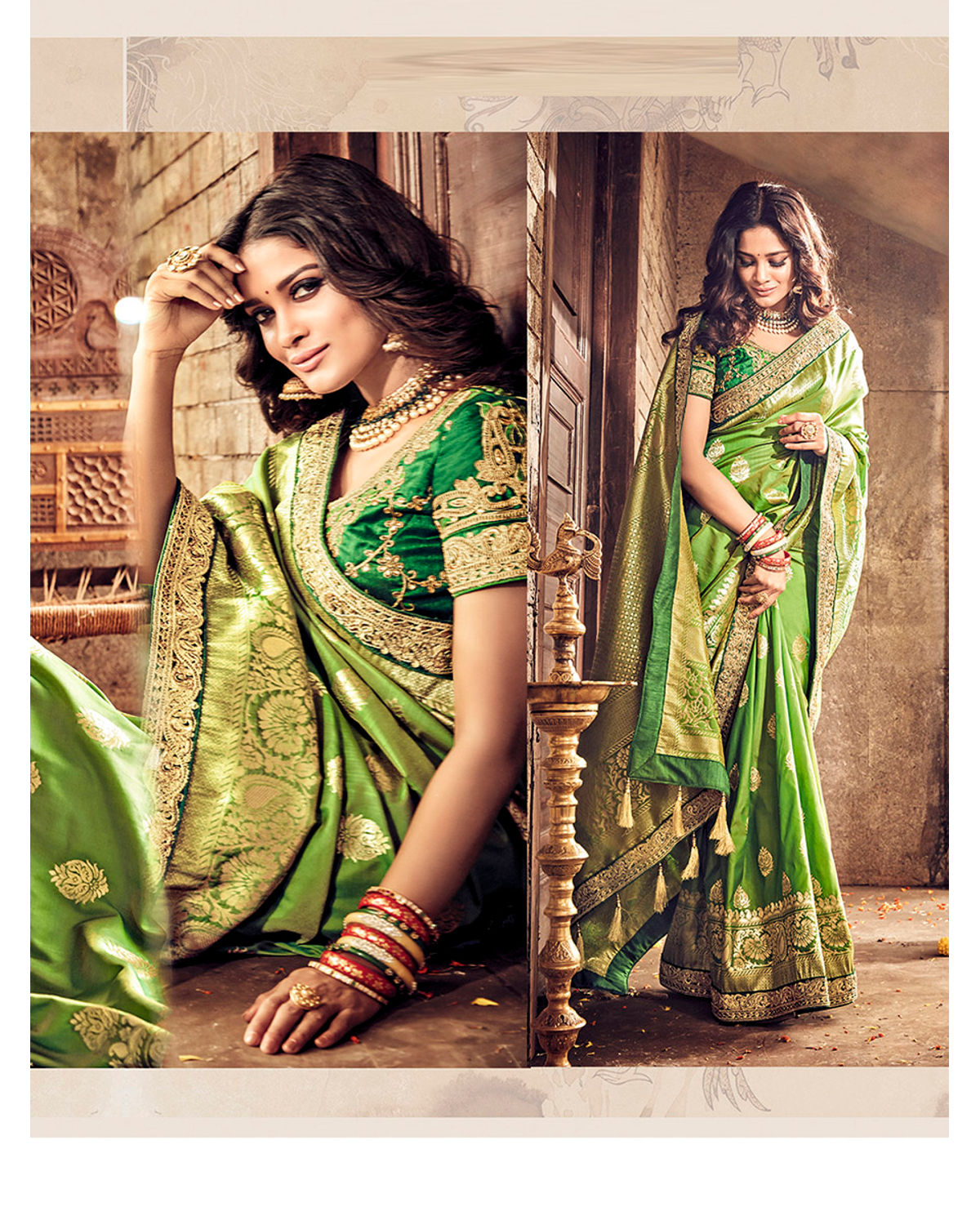 53d6f69fba ... Banarasi Silk Wedding saree with Meenakari weave in Green Color