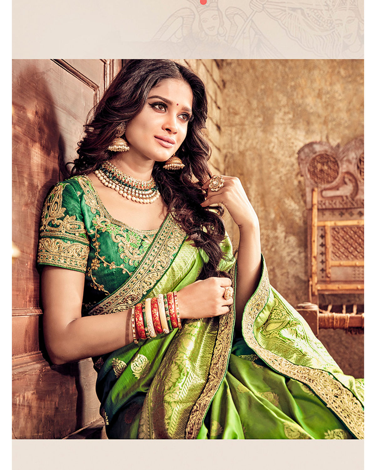 d83e4ac075 ... Banarasi Silk Wedding saree with Meenakari weave in Green Color ...