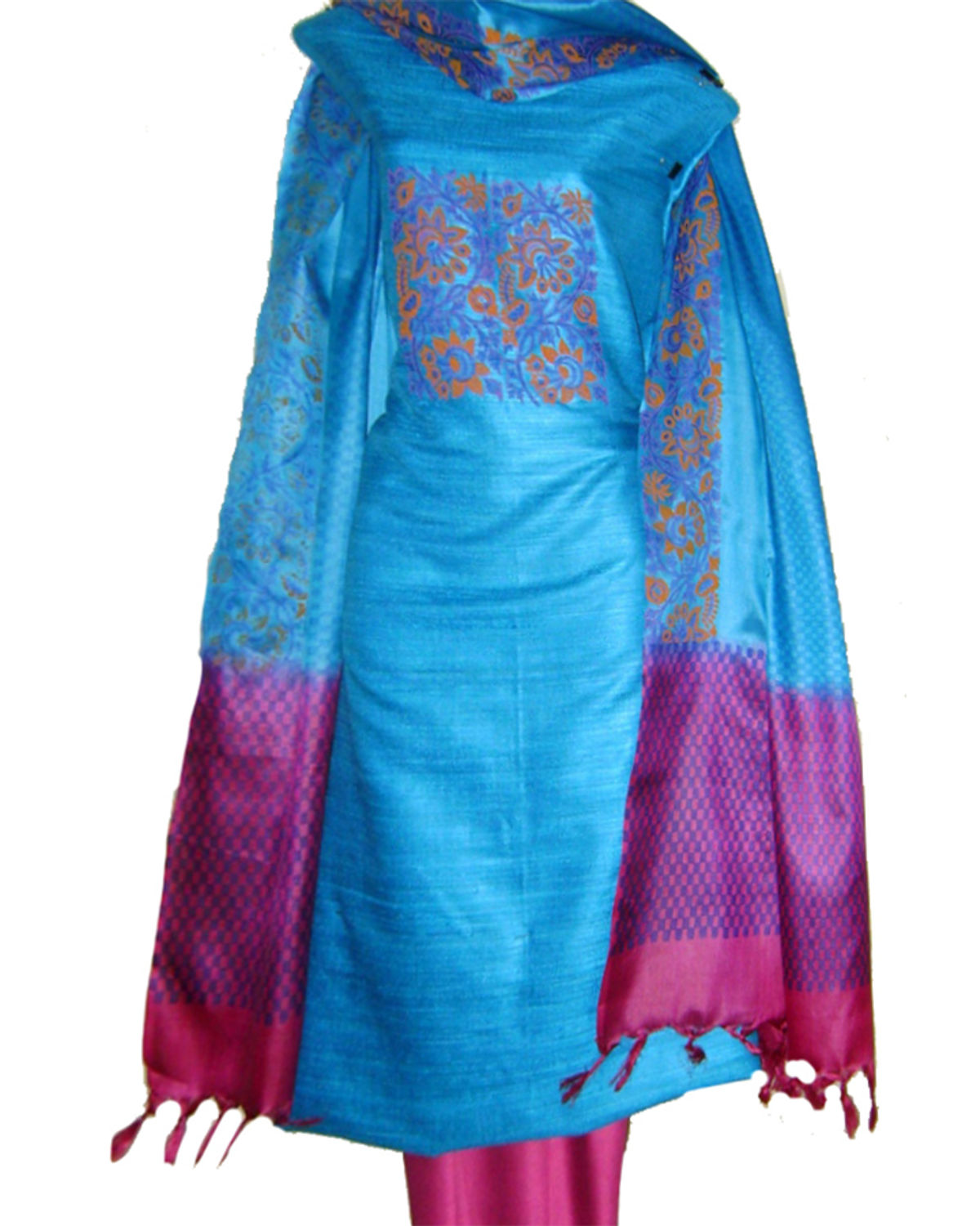 Dee S Alley Tussar Silk Suit In Blue Color With Pink Contrast Sp 435