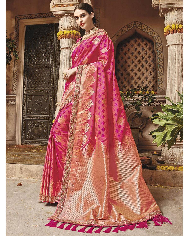 21de0aa3b307ee Hot Pink Kanjeevaram Silk Saree With Embroidery   Deestath13   Dees ...
