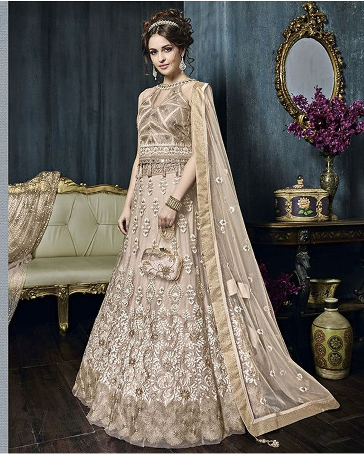 Peach Color Heavy Embroidered Indo Western Anarkali Suit ...