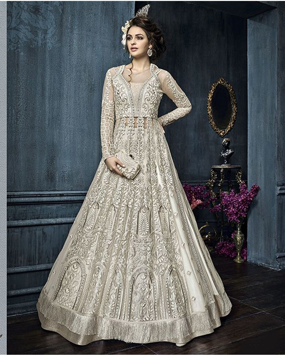 Ivory Grey Color Heavy Embroidered Indo Western Anarkali Suit ...