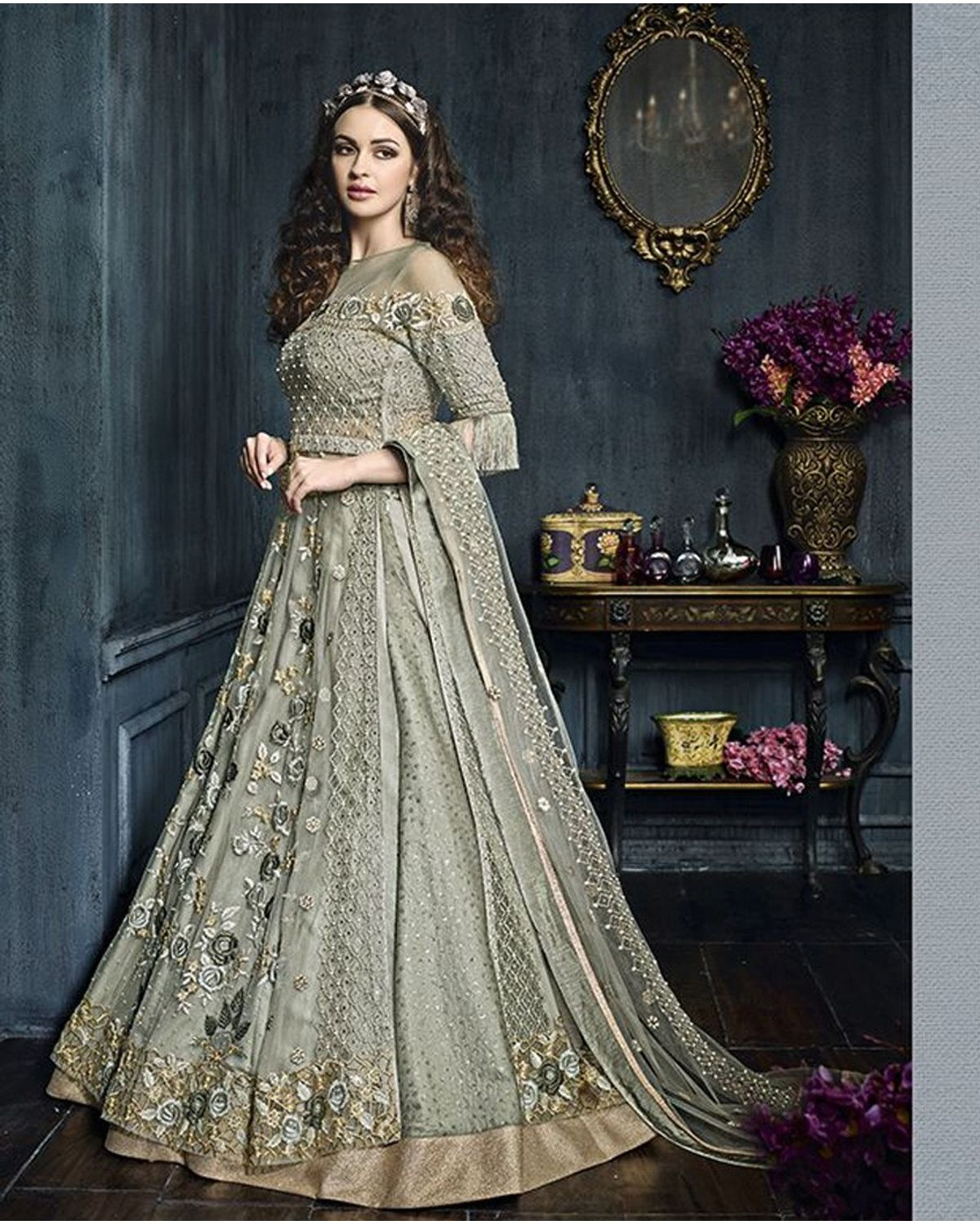 484904d8f98 Light Green Heavy Embroidered Indo Western Anarkali Suit ...