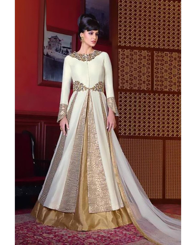 Off White Long Indowestern Anarkali Gown   Deesindw02
