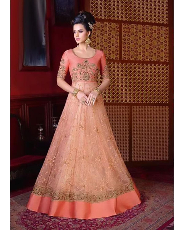 Peach Color Long Indowestern Anarkali Gown | Deesindw03
