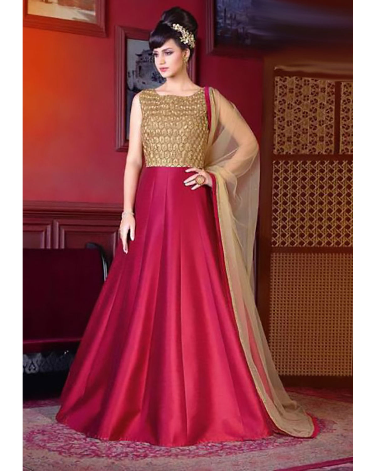 Red Color Long Indowestern Anarkali Gown | Deesindw05