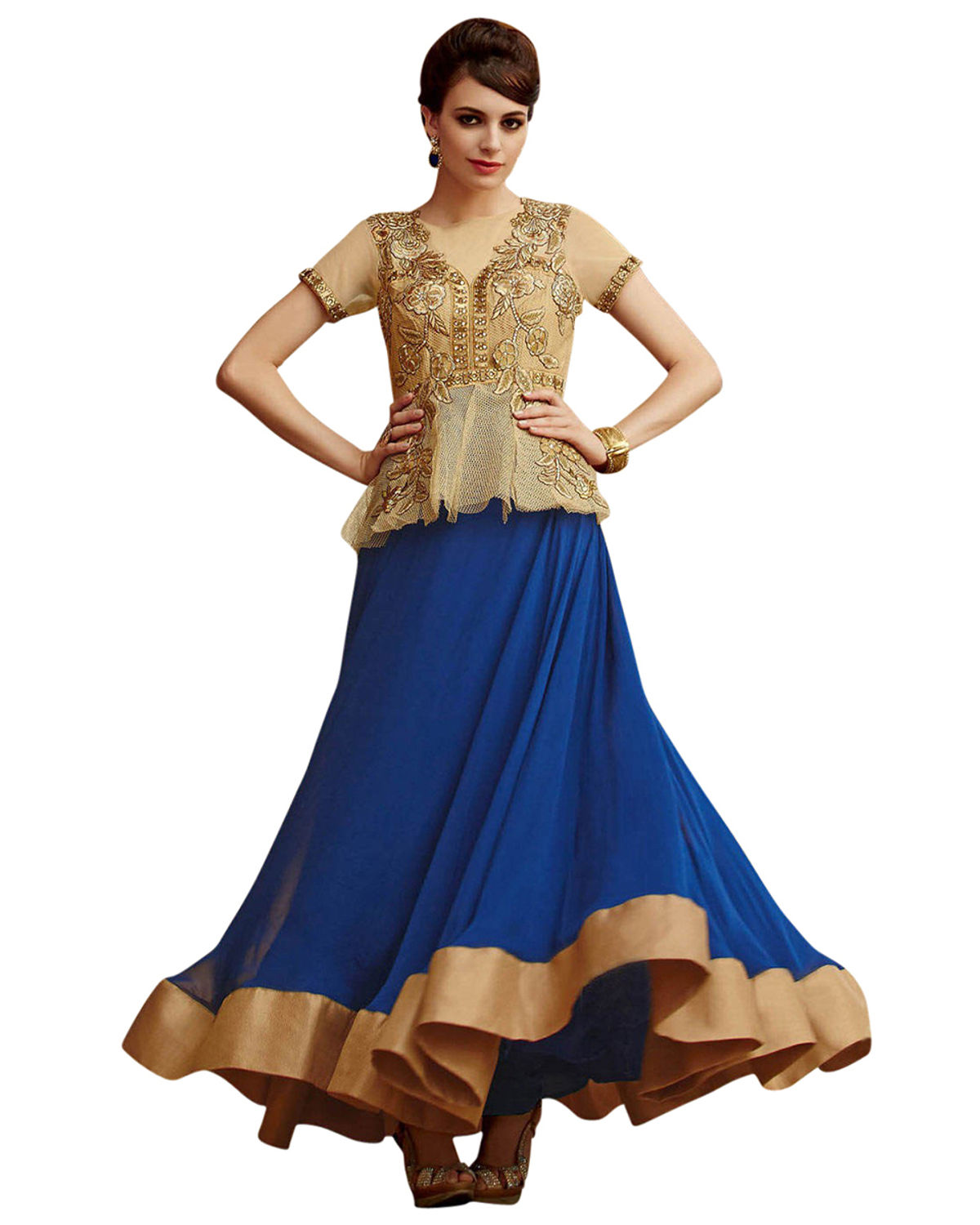 Blue And Golden Indowestern Anarkali Gown Salwar Suit | Deesindw02a