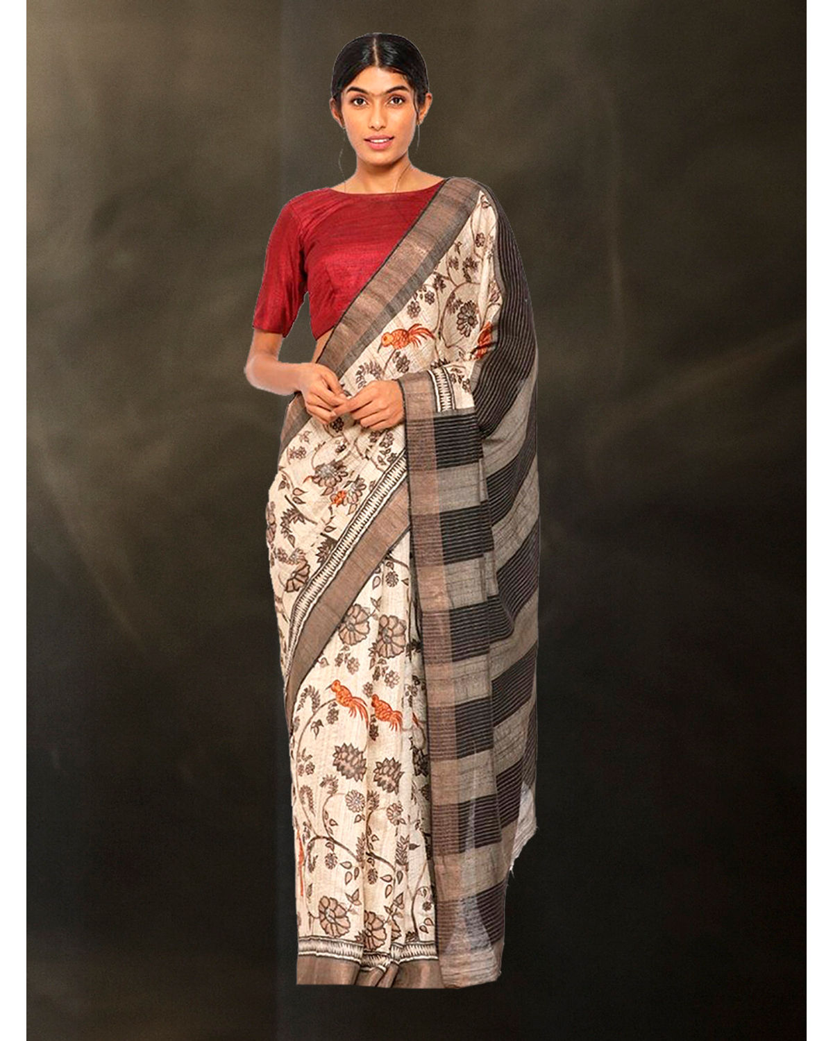 da13de946c3786 Pure Tussar Silk Saree with Traditional Kalamkari Jaal and Red Woven  Border. Pure Tussar Silk Saree with Traditional Kalamkari Jaal ...