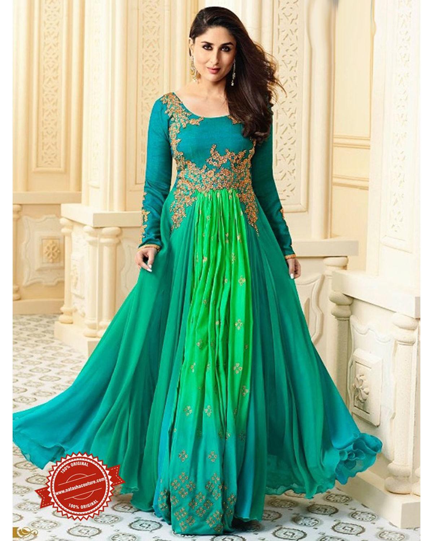 Kareena Kapoor Green Abaya Style Salwar Suit with Jacket ...  |Kareena In Green Anarkali Dress
