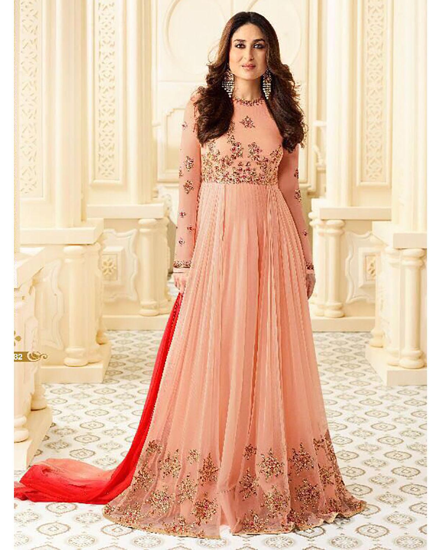 Kareena Kapoor Peach Color Long Anarkali Suit | Deesindkape | Dees Alley