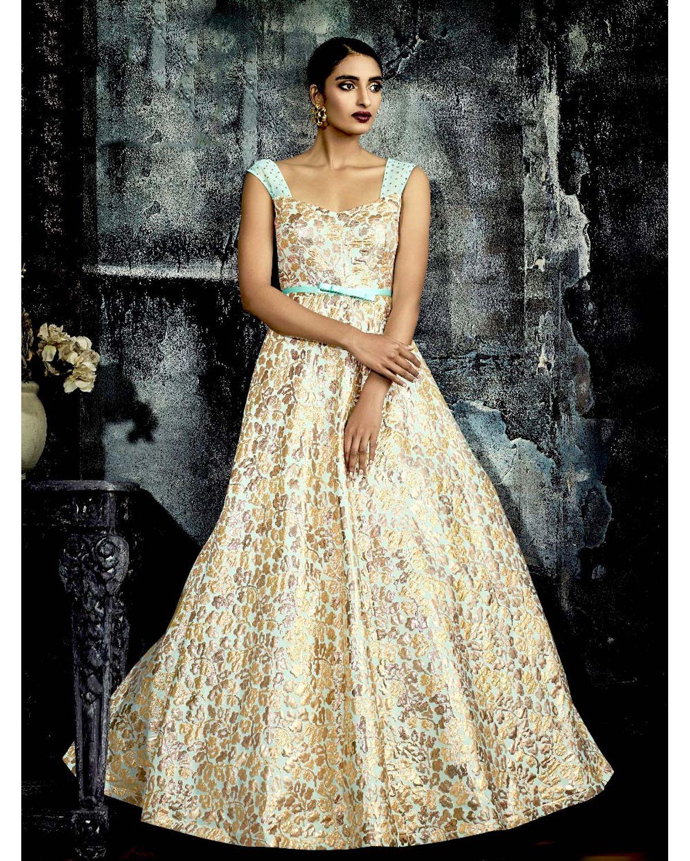 Designer Beige Golden Long Gown | Deesgown17f | Dees Alley