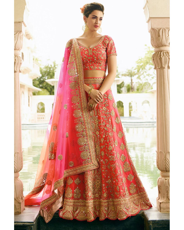 d7643bcf6664ff Coral Pink Raw Silk Heavy Wedding Lehenga Choli