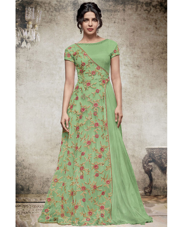 Priyanka Chopra Long Anarkali Gown In Green Color