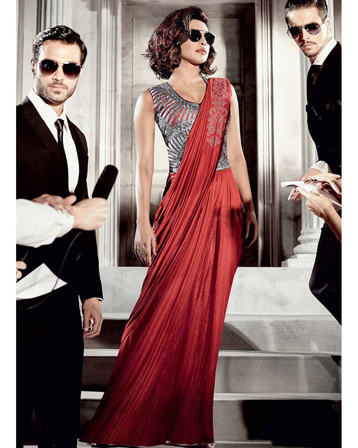 Priyanka Chopra Saree Gown For Party And Reception | Deesanpk07 ...