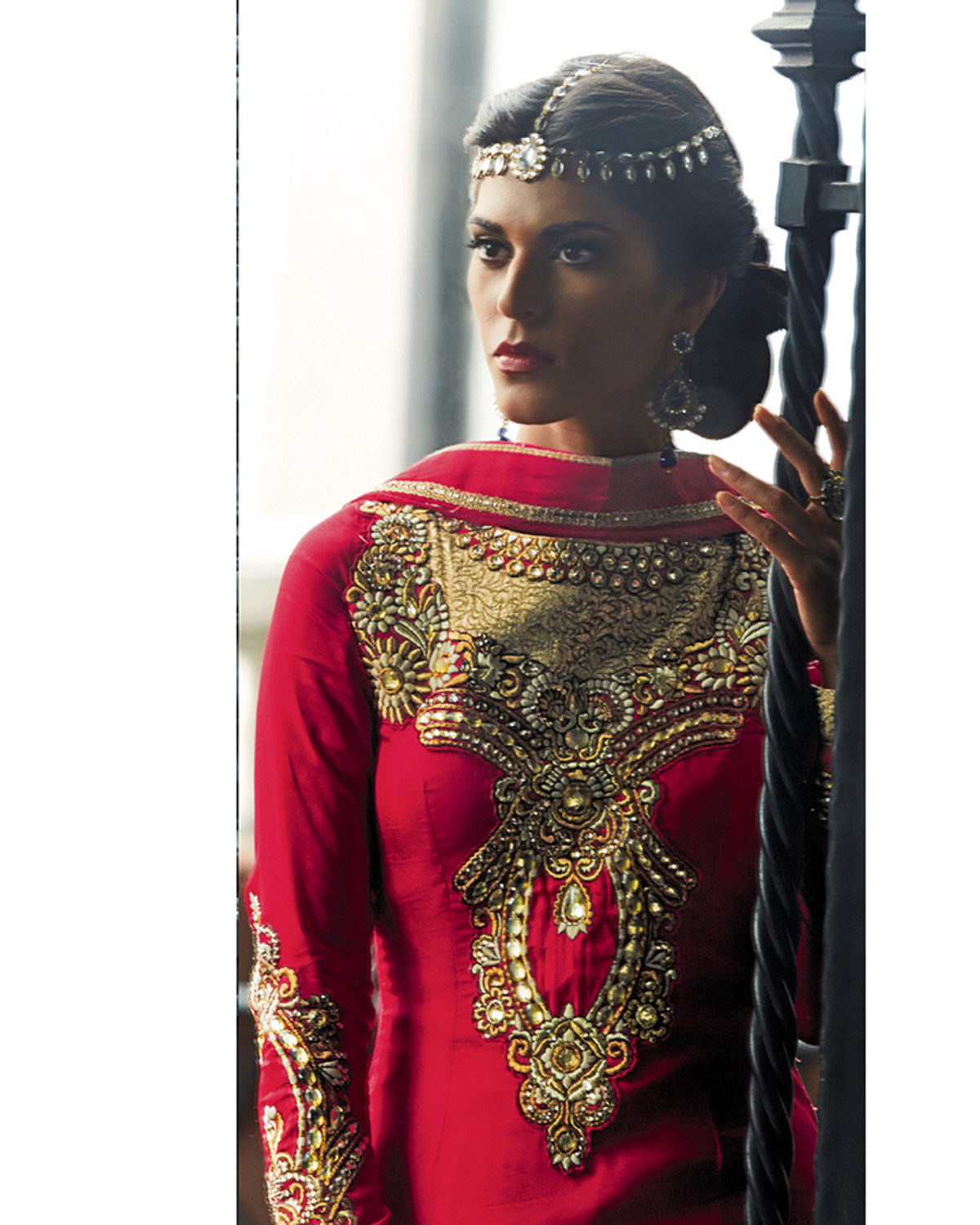 Embroidered Tussar Silk Party Wear Suit with Zardozi Work